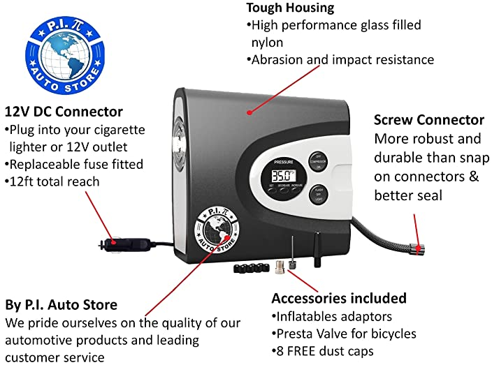 P.I. Auto Store - Premium Digital Tire Inflator – Electric 12v DC Portable Air Compressor Auto Pump