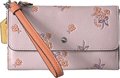 6a7629cd35 COACH Women s Triple Small Wallet in Colorblock With Floral Bow Print  Sv Ice Pink Multi