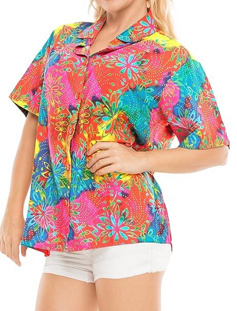 Hawaiano botón de la Camisa Blusas Mujeres aptas Abajo relajados Mangas Cortas Campamento múltiples s