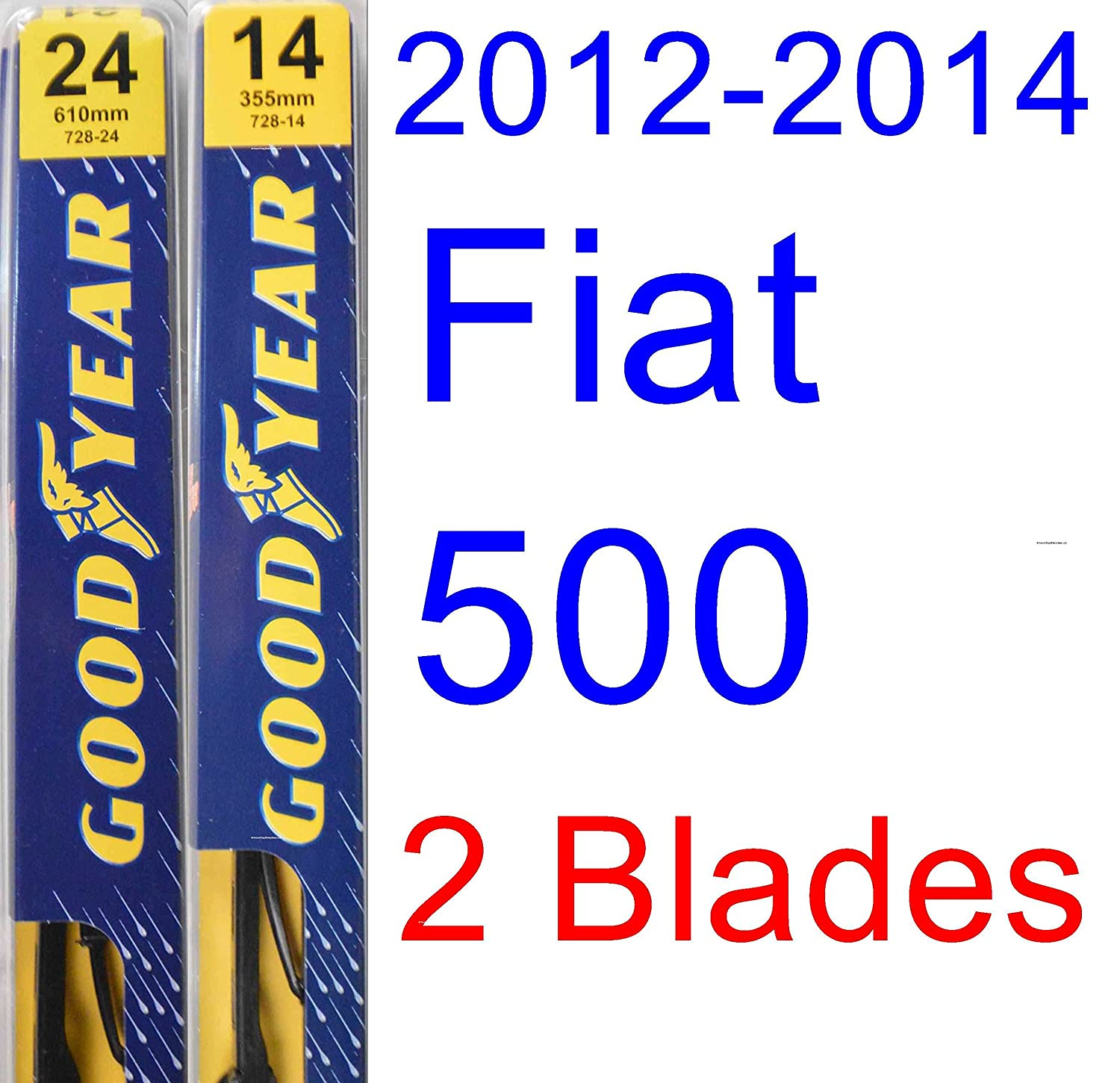 2012-2014 Fiat 500 Replacement Wiper Blade Set/Kit (Set of 2 Blades) (Goodyear Wiper Blades-Premium) (2013)