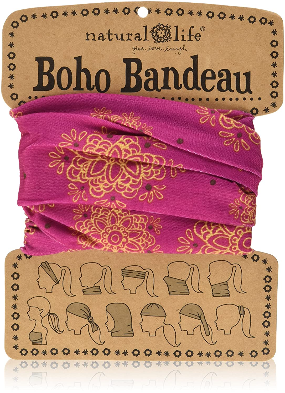 Natural Life Boho Bandeau Pink & Gold Mandala Pattern