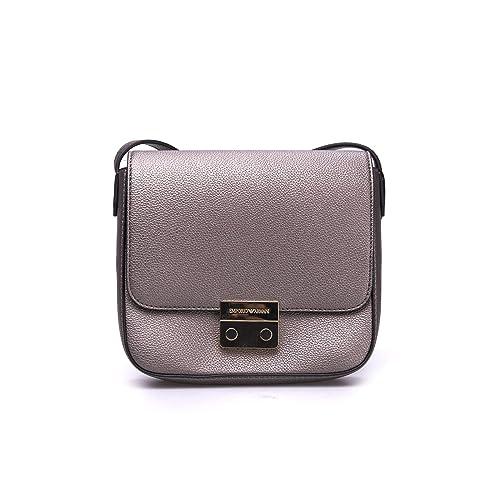Emporio Armani Borsa Silver Textured Cross-Body Bag Silver Leather ... c4523ba64423a