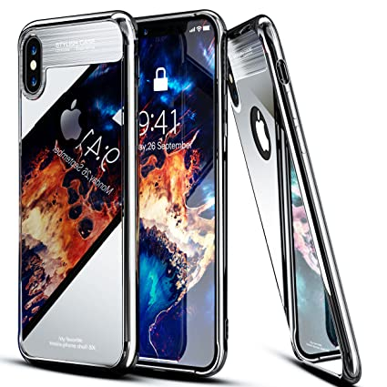 a3cd7a9e046 iPhone X 10 Case Tempered Glass Mirror Hard Back Cover [Anti-Scratch]+