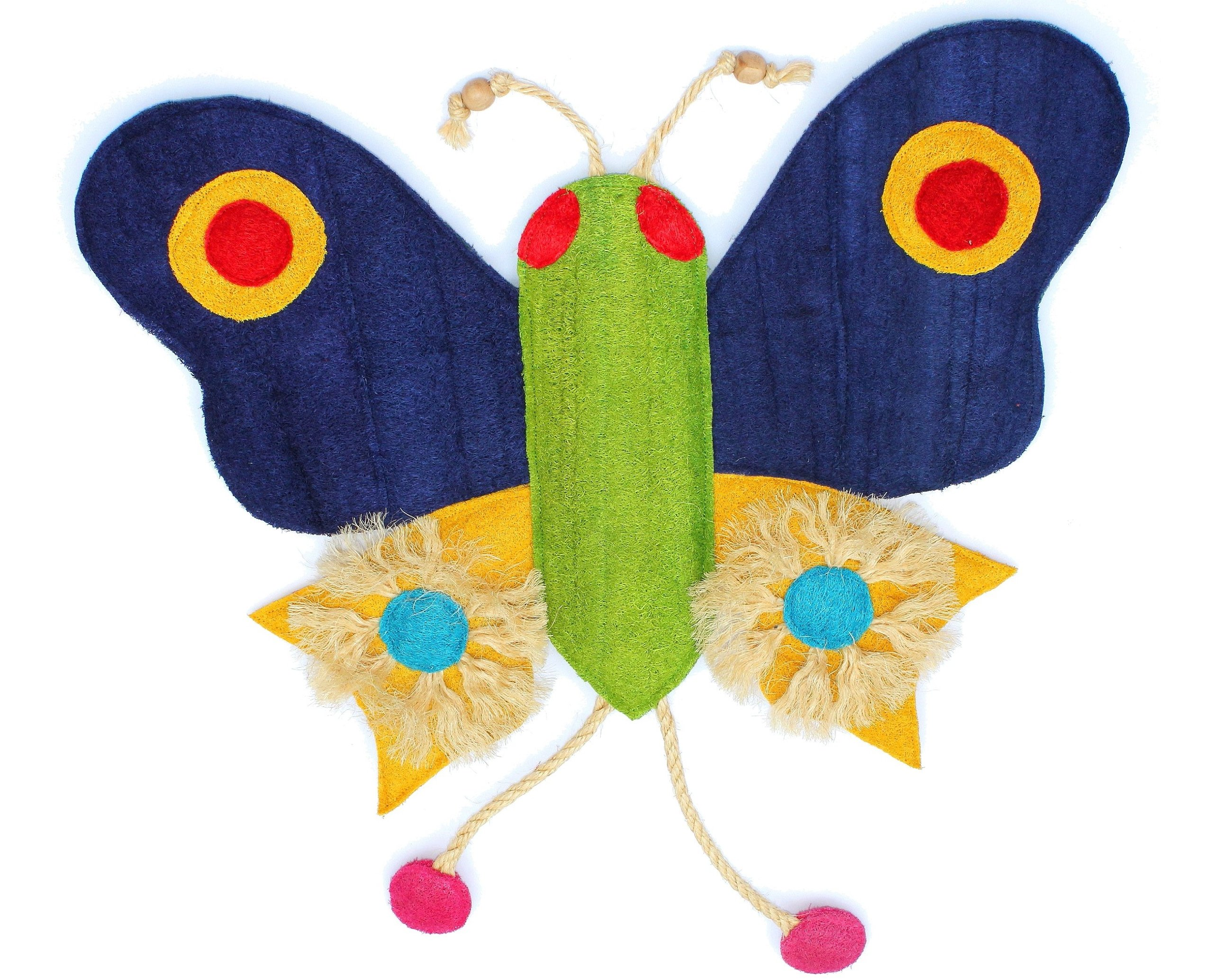 Eco-Loofah Original Play and Scratch Station Pet Toy, Butterfly Design