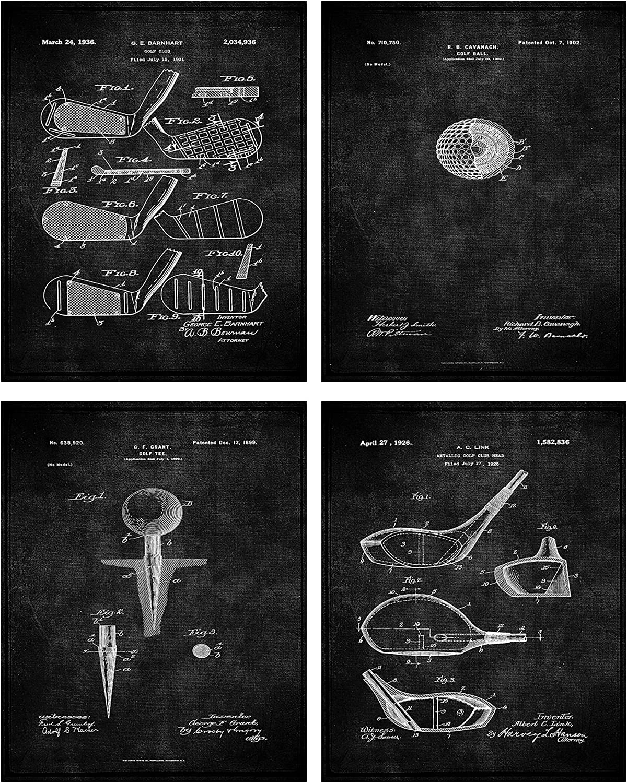 Golf Patent Print Wall Art - Set of Four Fine Art Photos 8x10 Unframed - Great Gift for Golfers Decor (Black)