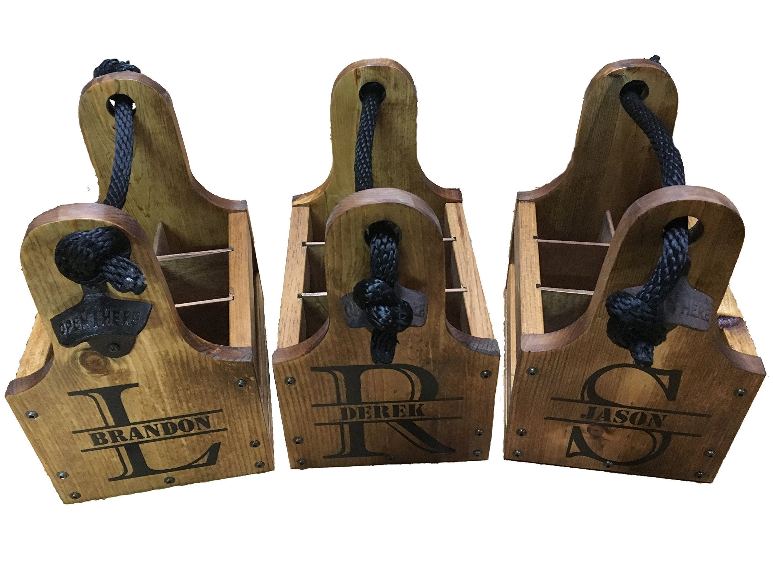 (Pack of 3) Personalized Rustic Wood Beer Caddy with Bottle Opener and Magnetic Cap Catch - Split Monogram