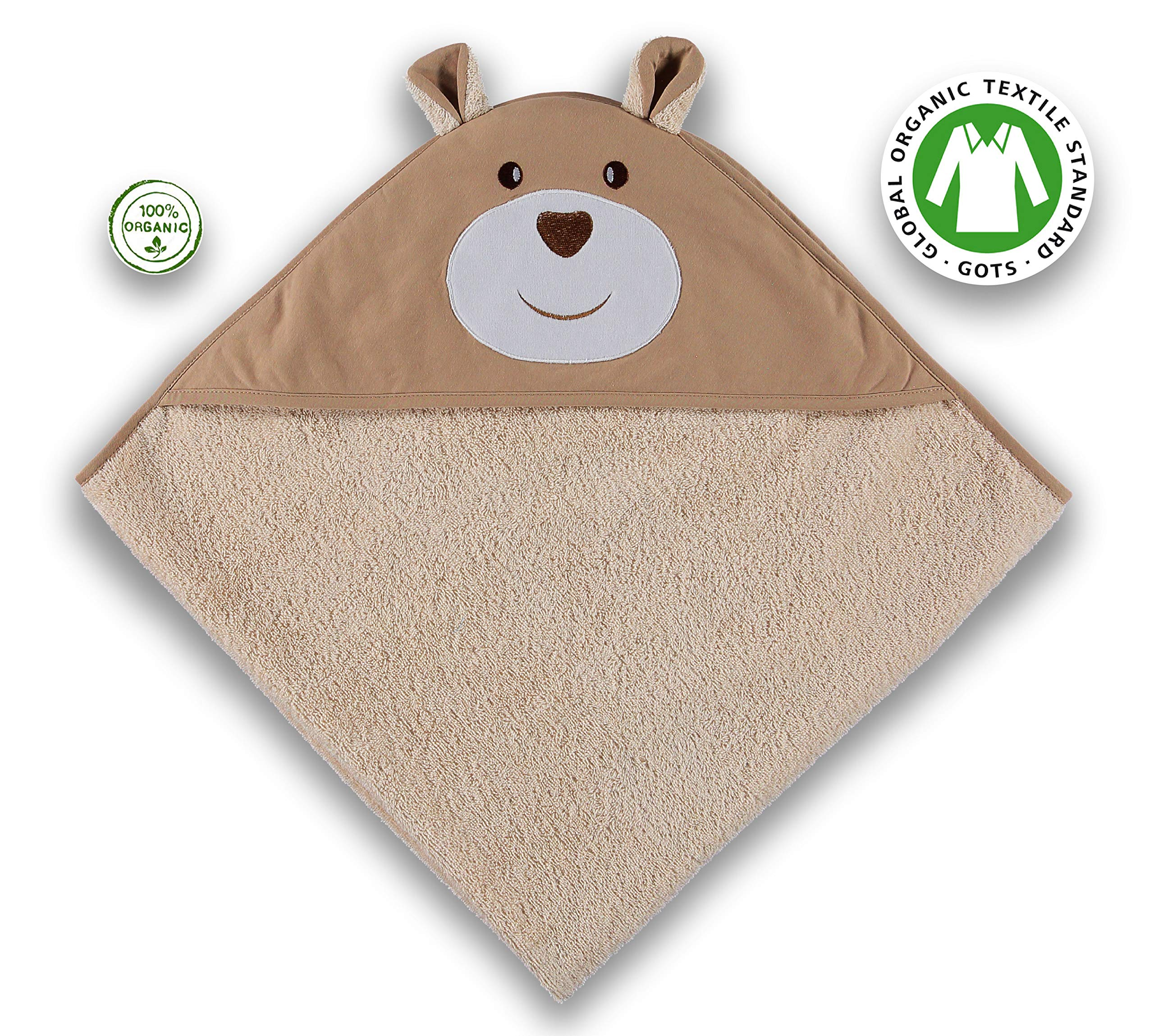 Soulwell Baby Organic Cotton Hooded Bath Towel - Super Soft Cute Design Smooth Absorbent Premium Quality GOTS Certified Animal Face Hooded Towel 35.5'' x 35.5'' (Beige/Bear) by Soulwell