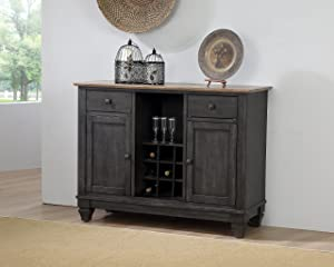 Kings Brand Alleyton Charcoal & Oak Wood Wine Rack Buffet 2 Door Storage Server Cabinet