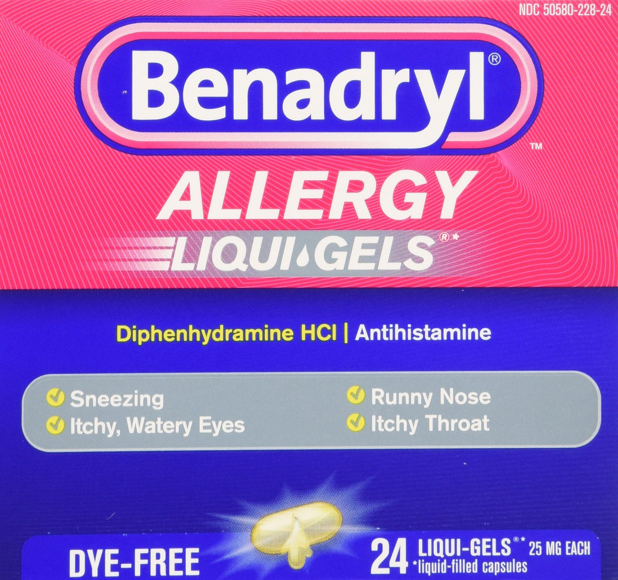 Benadryl Dye-Free Allergy Reliefs, 24-Count Liqui-gels (Pack of 4) by Benadryl