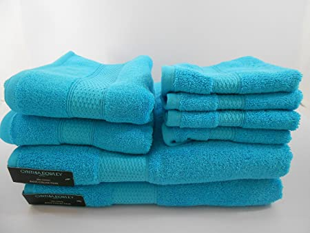 Cynthia Rowley Blue Bath Towel Set 8 Pieces Amazon Co Uk Kitchen