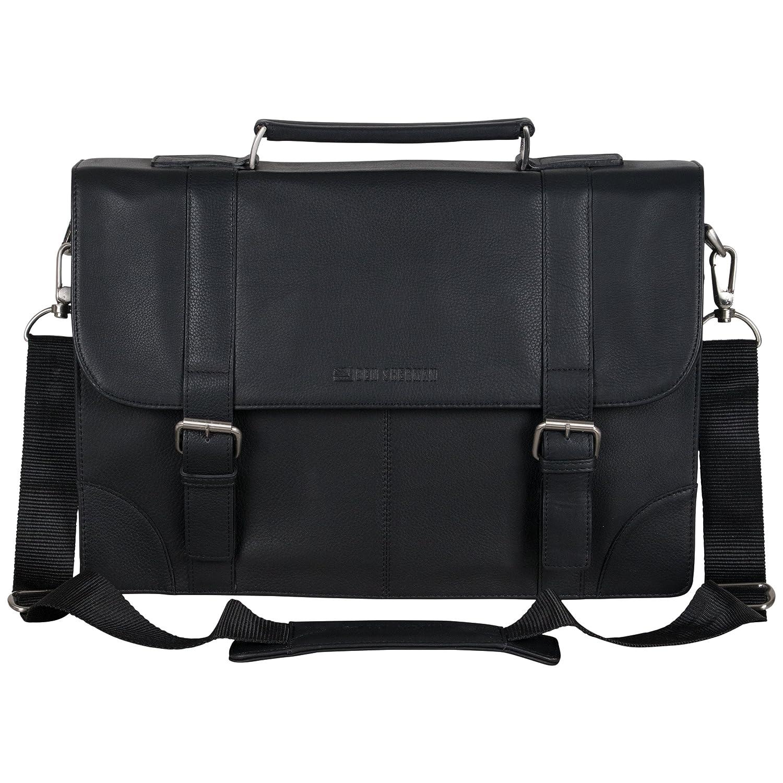 "3a9777b046ca low-cost Ben Sherman Leather Double Compartment Flapover 15"" Computer Case  Business Portfolio Laptop"