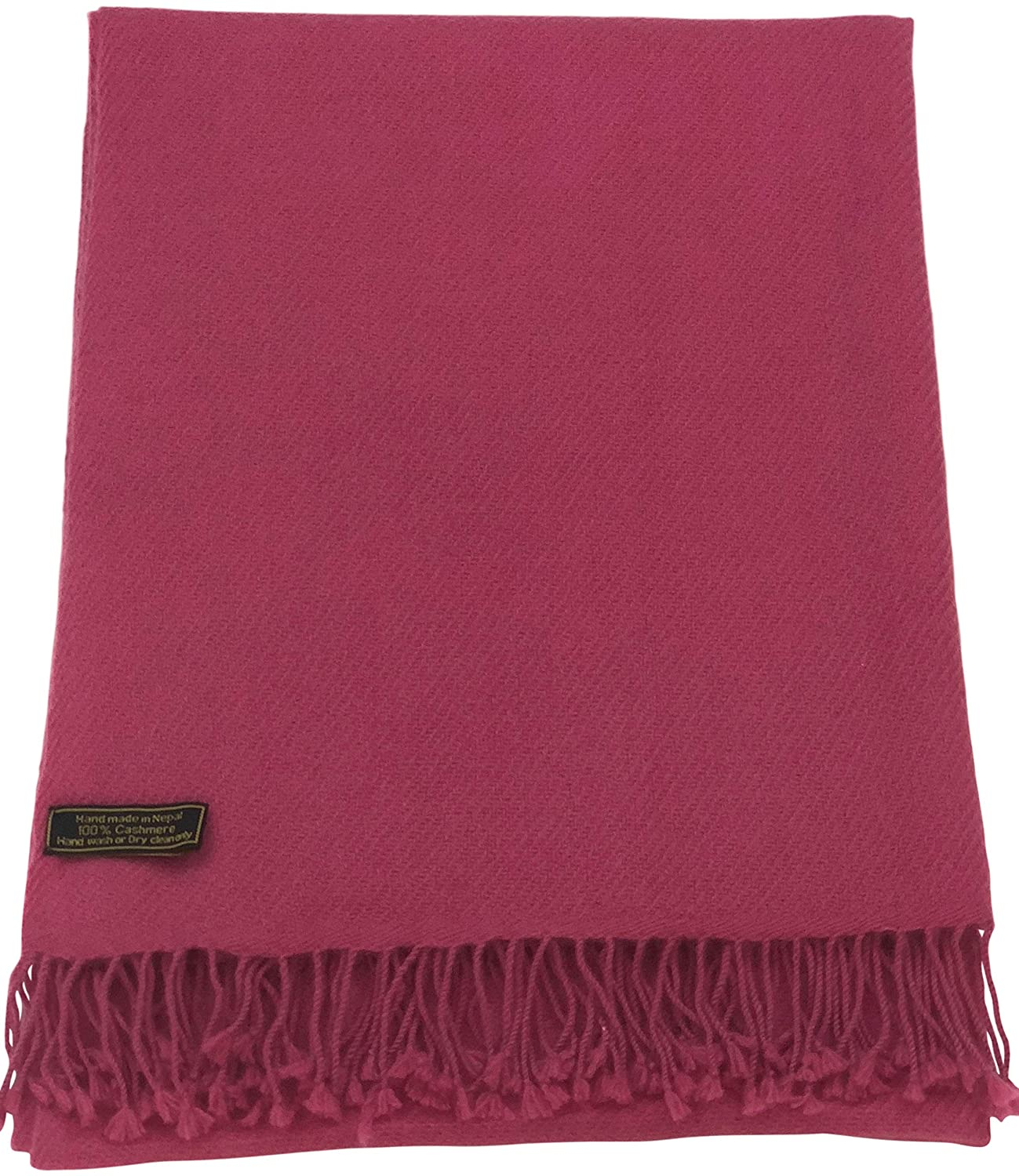 Hot Pink Beige High Grade 100% Cashmere Shawl Scarf Wrap Hand Made in Nepal NEW