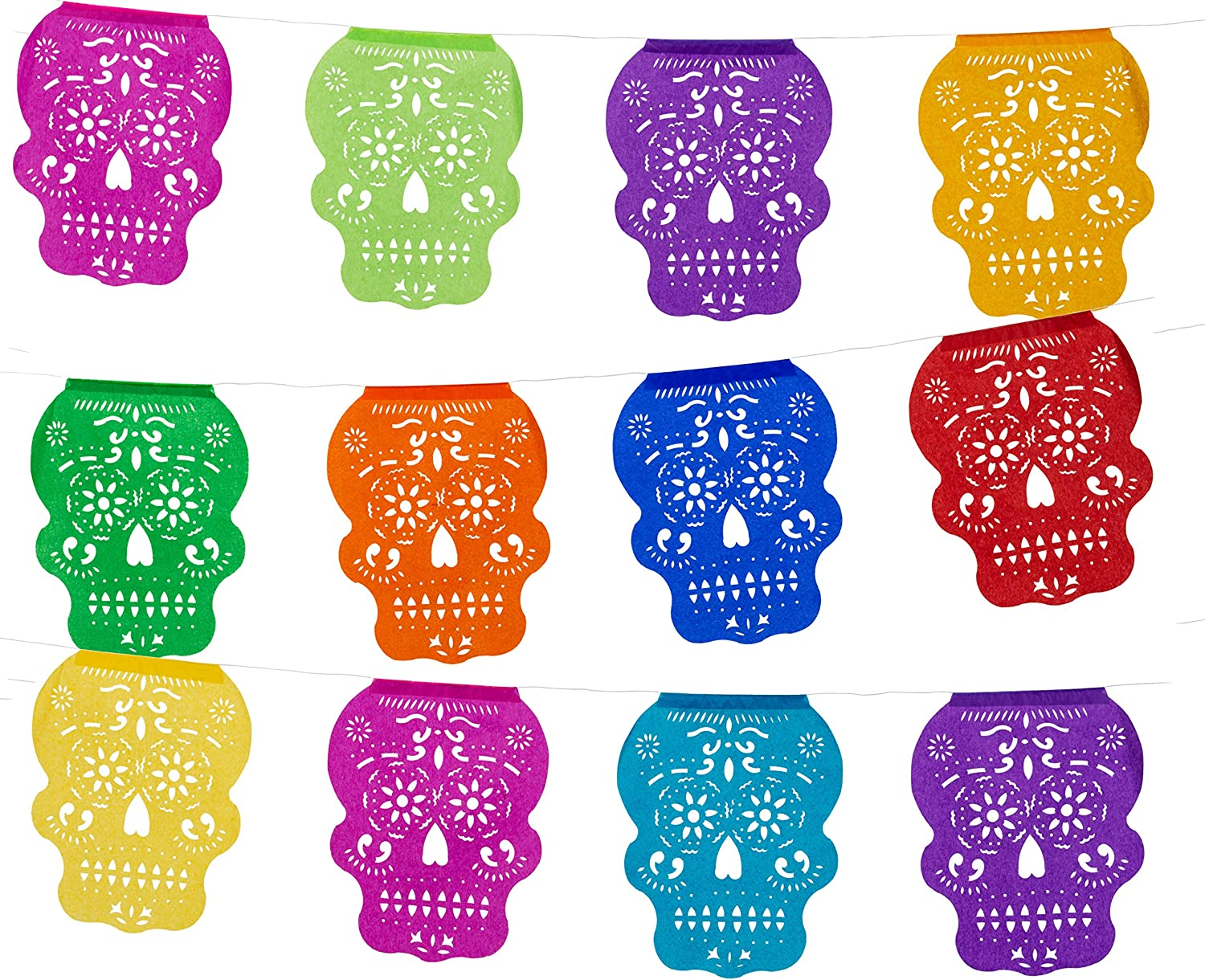 Tissue Papel Picado Banner for Day of The Dead/Dia De Los Muertos - Cabezita Calavera - Multi Color Banner - 12 Tissue Panels - Over 12 Feet Long Hanging