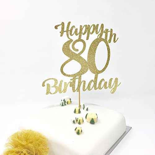 Happy 80th Birthday Cake Topper Gold Shinny Decoration Amazoncouk Handmade