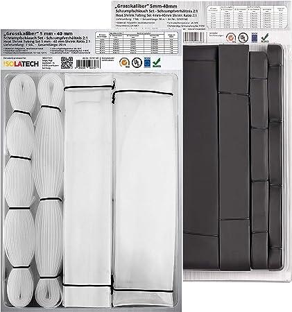 ratio 2:1 noir Gocableties Mini bobine de gaine de c/âble thermor/étractable noire de haute qualit/é