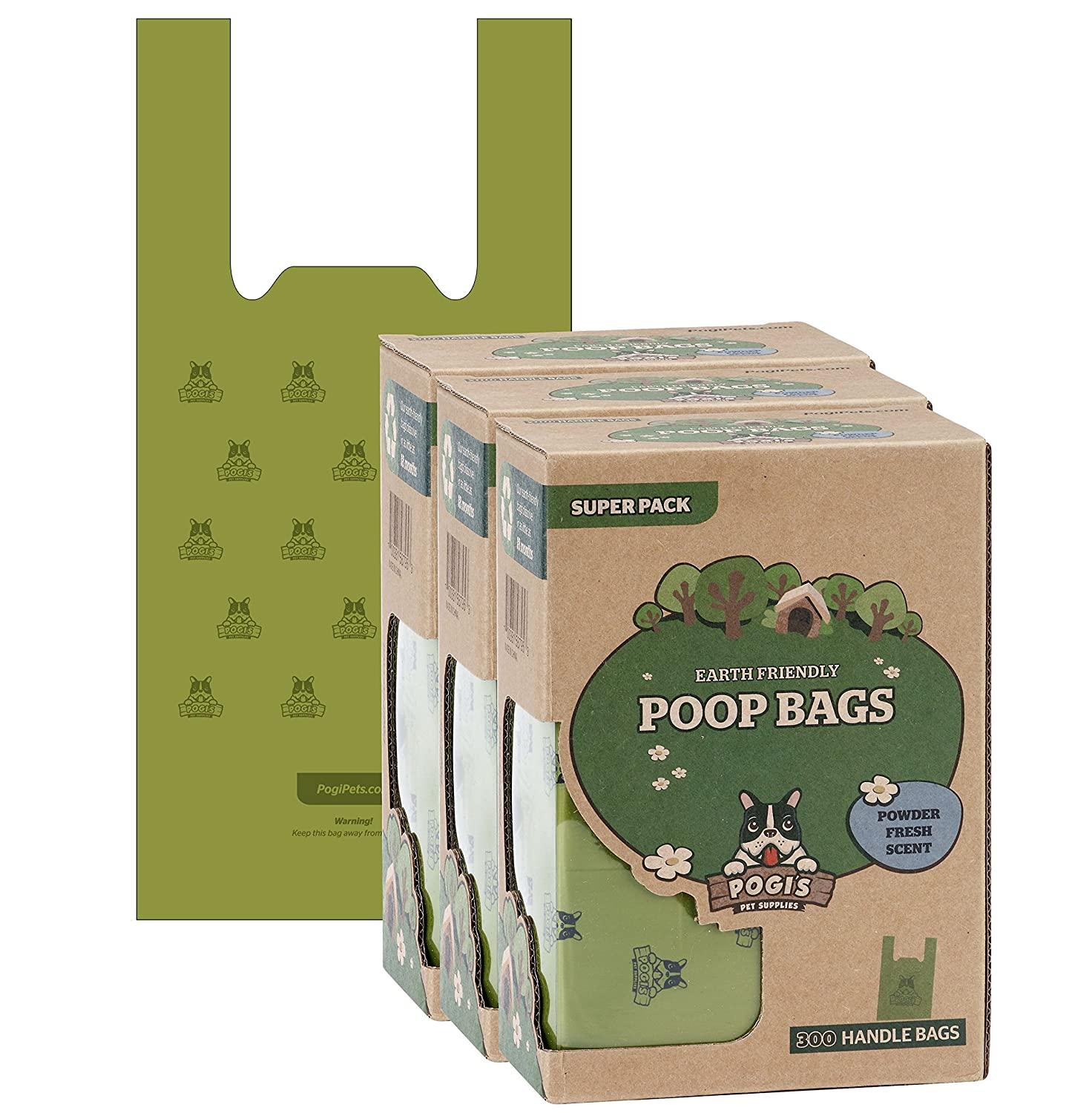 Pogi's Poop Bags with Easy-Tie Handles - Large, Earth-Friendly, Scented, Leak-Proof Pet Waste Bags
