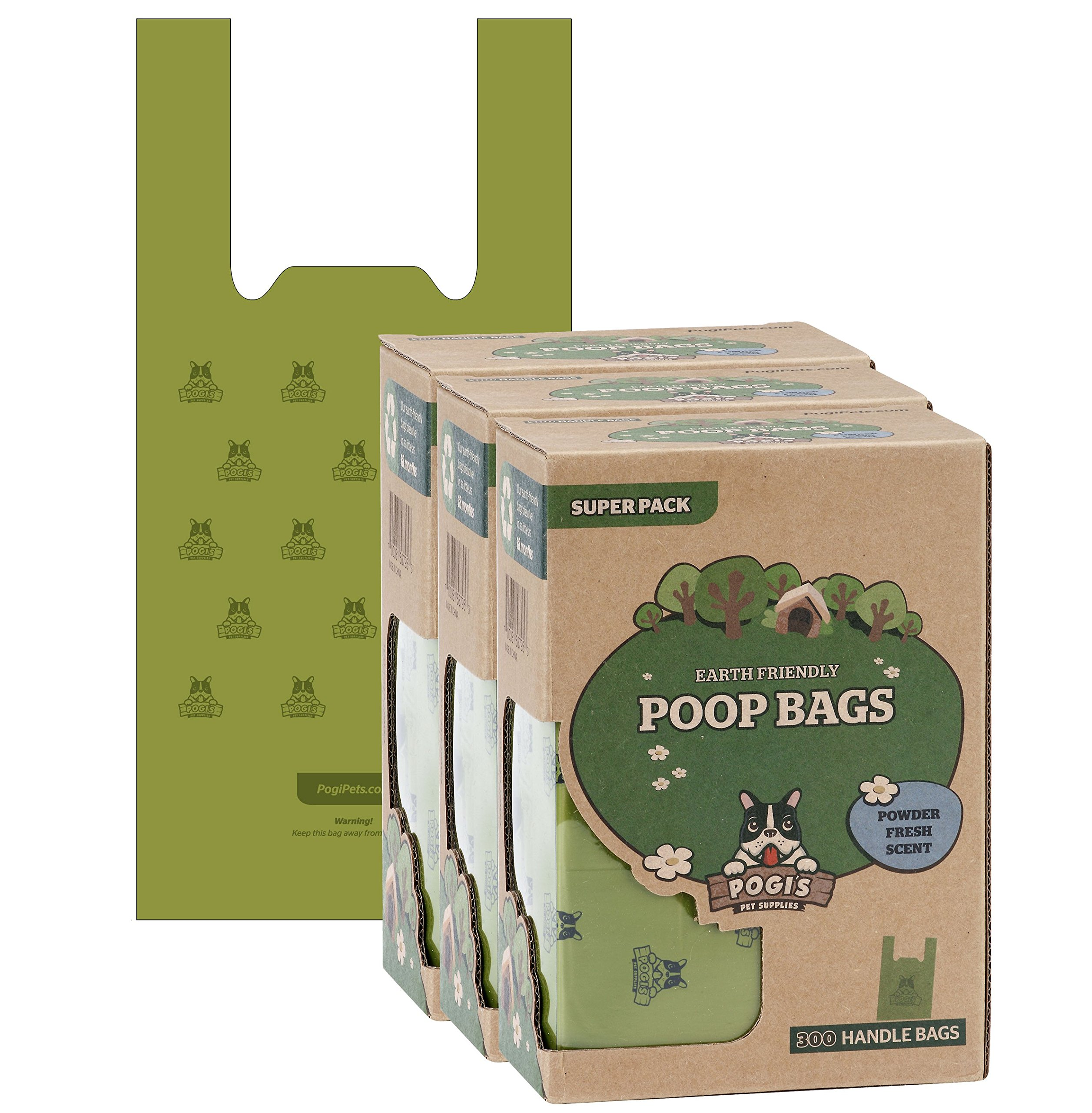 Pogi's Poop Bags - 900 Bags with Easy-Tie Handles - Large, Earth-Friendly, Scented, Leak-Proof Pet Waste Bags