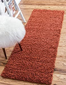 Unique Loom Solo Solid Shag Collection Modern Plush Terracotta Runner Rug (2' 2 x 6' 5)