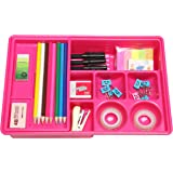 Hot Pink Multi Compartment Office Desk Drawer Plastic School Supply Organizer Caddy Tray w/ Sliding Shelf