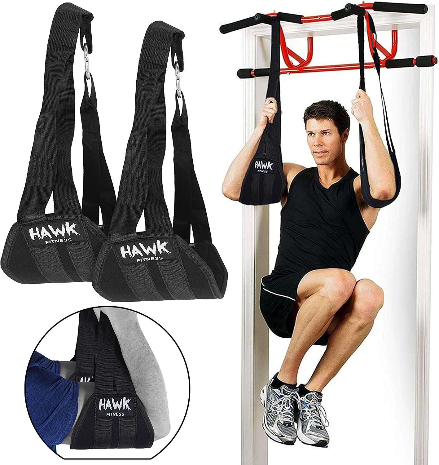Hawk Sports Ab Straps Hanging Abdominal Slings for Pullup Bar Chinup Exercise Abs Stimulator Trainer Toner Home Gym Fitness Ab Workout Equipment for Men /& Women