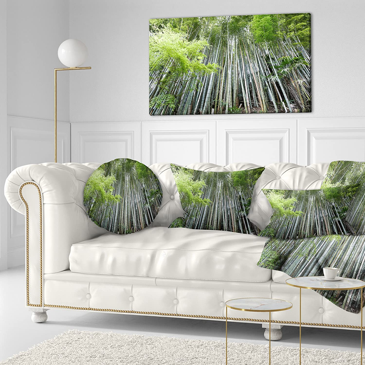 Insert Printed On Both Side Designart CU11177-20-20-C Dense Bamboo Japan Forest Round Cushion Cover for Living Room Sofa Throw Pillow 20