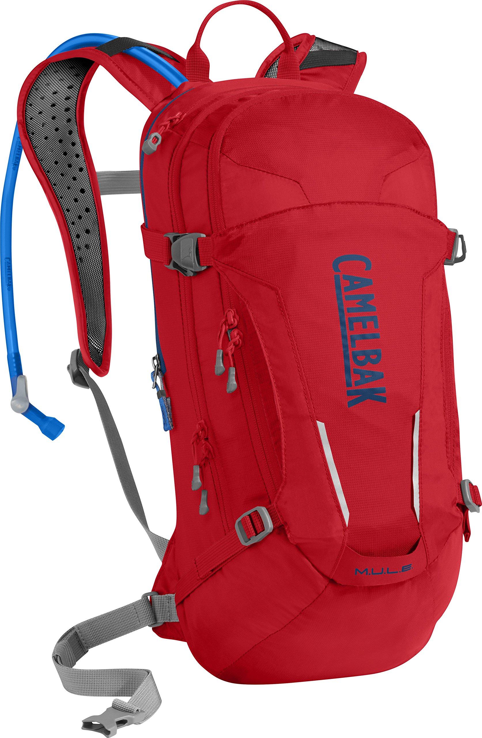 CamelBak M.U.L.E. Crux Reservoir Hydration Pack, Racing Red/Pitch Blue, 3 L/100 oz
