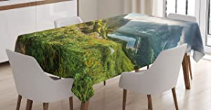 Ambesonne Apartment Decor Tablecloth, Mountain by The Lake with Fairy Dark Cloudy Sky Spring Dream Spot on Earth Photo, Dining Room Kitchen Rectangular Table Cover, 60 X 84 inches, Green White Blue