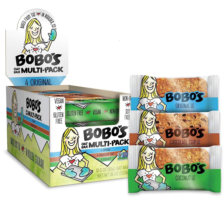 Bobo's Oat Bars (Variety pack, 12 Pack of 3 oz Bars) Gluten Free Whole Grain Rolled Oat Bars - Great Tasting Vegan On-The-Go Snack, Made in the USA