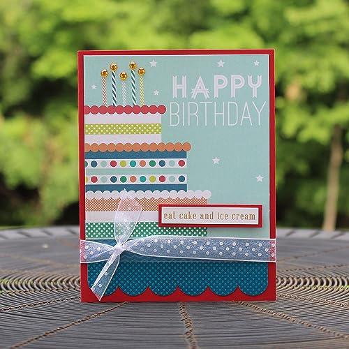 Amazon Birthday Cake Happy Birthday Handmade Greeting Card