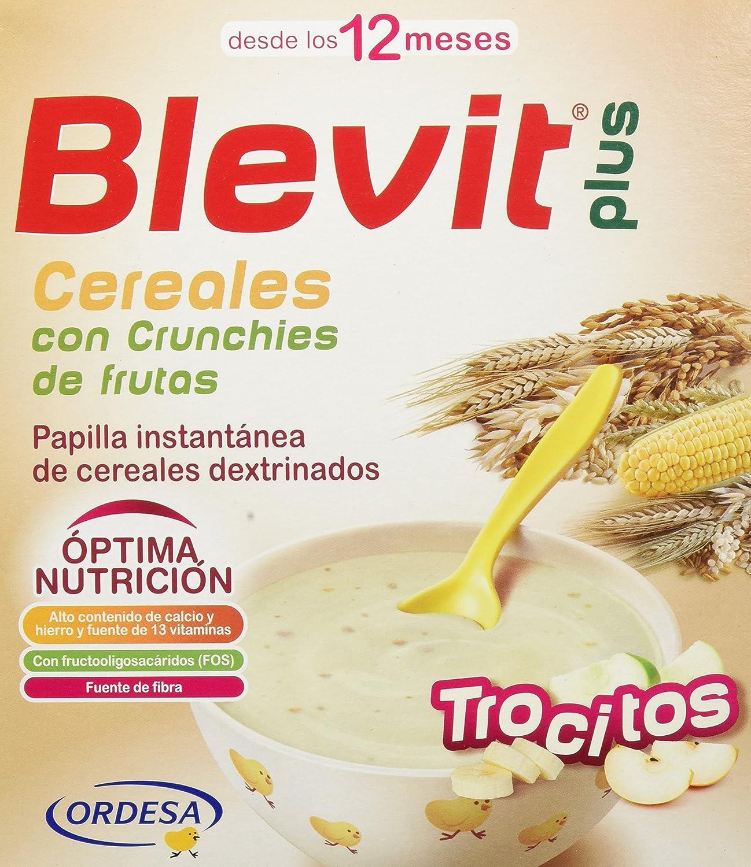 Blevit Plus Trocitos Cereales con Crunchies de Frutas, 1 unidad 600 gr. A partir de los 12 meses. Sus primeros cereales para masticar.