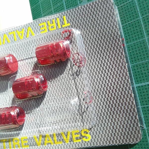 KOZEEY-STK0114017511-【ノーブランド品】車-トラック用-アルミ製-タイヤ-ホイール-リム-ステム-エアバルブ-キャップ-(レッド)-4個