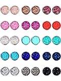 15 Pairs Faux Druzy Stud Earrings Set Stainless Steel Round Earrings Bohemian Pierced Earrings Jewelry for Women (Color Set 1, 10 mm)