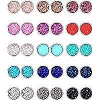 15 Pairs Faux Druzy Stud Earrings Set Stainless Steel Round Earrings Bohemian Pierced Earrings Jewelry for Women