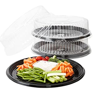 Heavy Duty, Recyclable 16 in. Serving Tray and Lid 3pk. Large, Black Plastic Party Platters with Clear Lids. Elegant Round Banquet or Catering Trays for Serving Appetizers, Sandwich and Veggie Plates