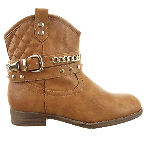 Sopily - Zapatillas de Moda Botines Western Santiags - Cowboy - Vaquero Low boots Tobillo mujer