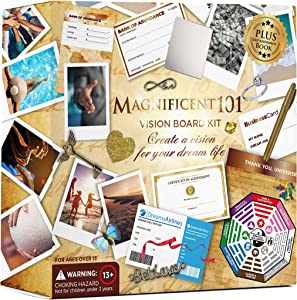 MAGNIFICENT 101 Vision Board Kit - Create a Board of Your Ambitions with +60 Vision Board Supplies. Use The Power of Intention and Visualization to Achieve Your Dreams