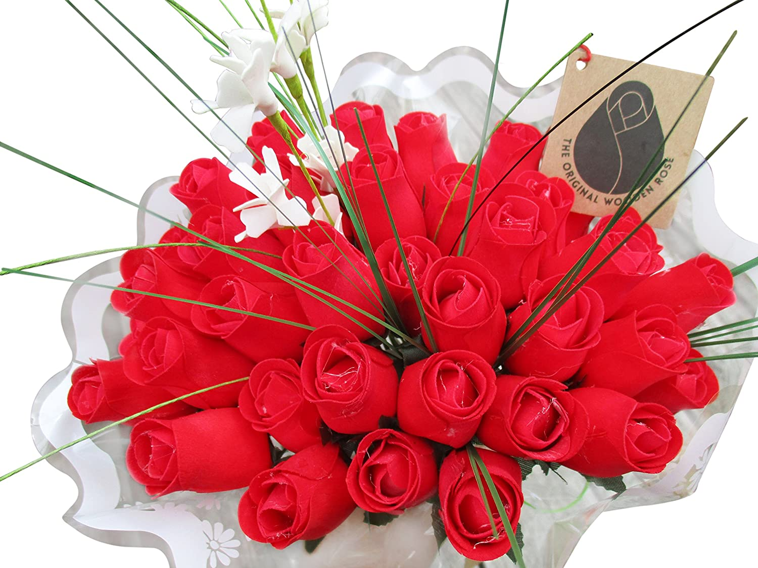 Amazon Com The Original Wooden Rose Valentines Day All Red Flower