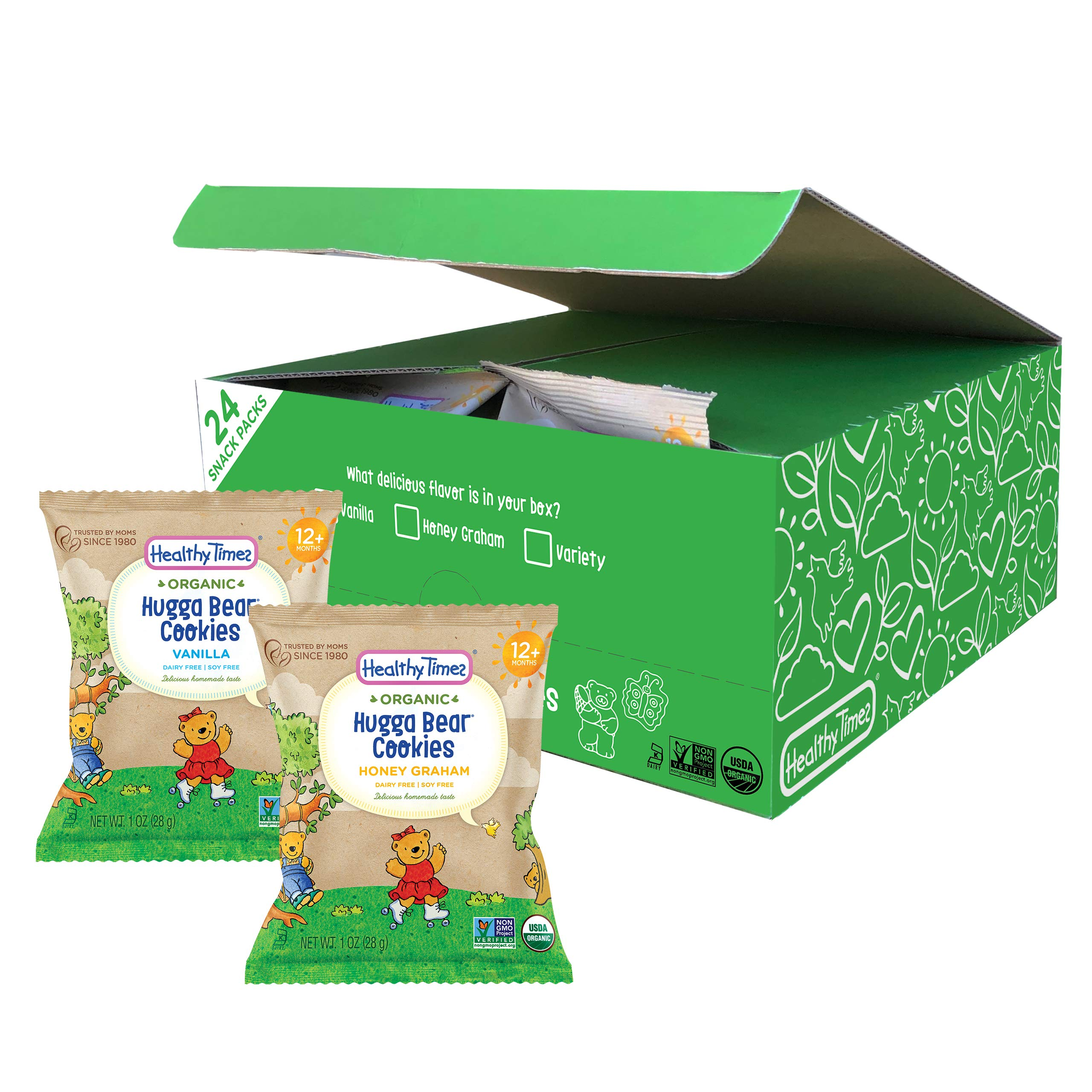 Healthy Times Organic Hugga Bear Snack Pack Cookies for Kids, Vanilla & Honey Graham Variety Pack | For Toddlers, 12 Months and Older | 1 Oz. Bag, 24 Count by Healthy Times
