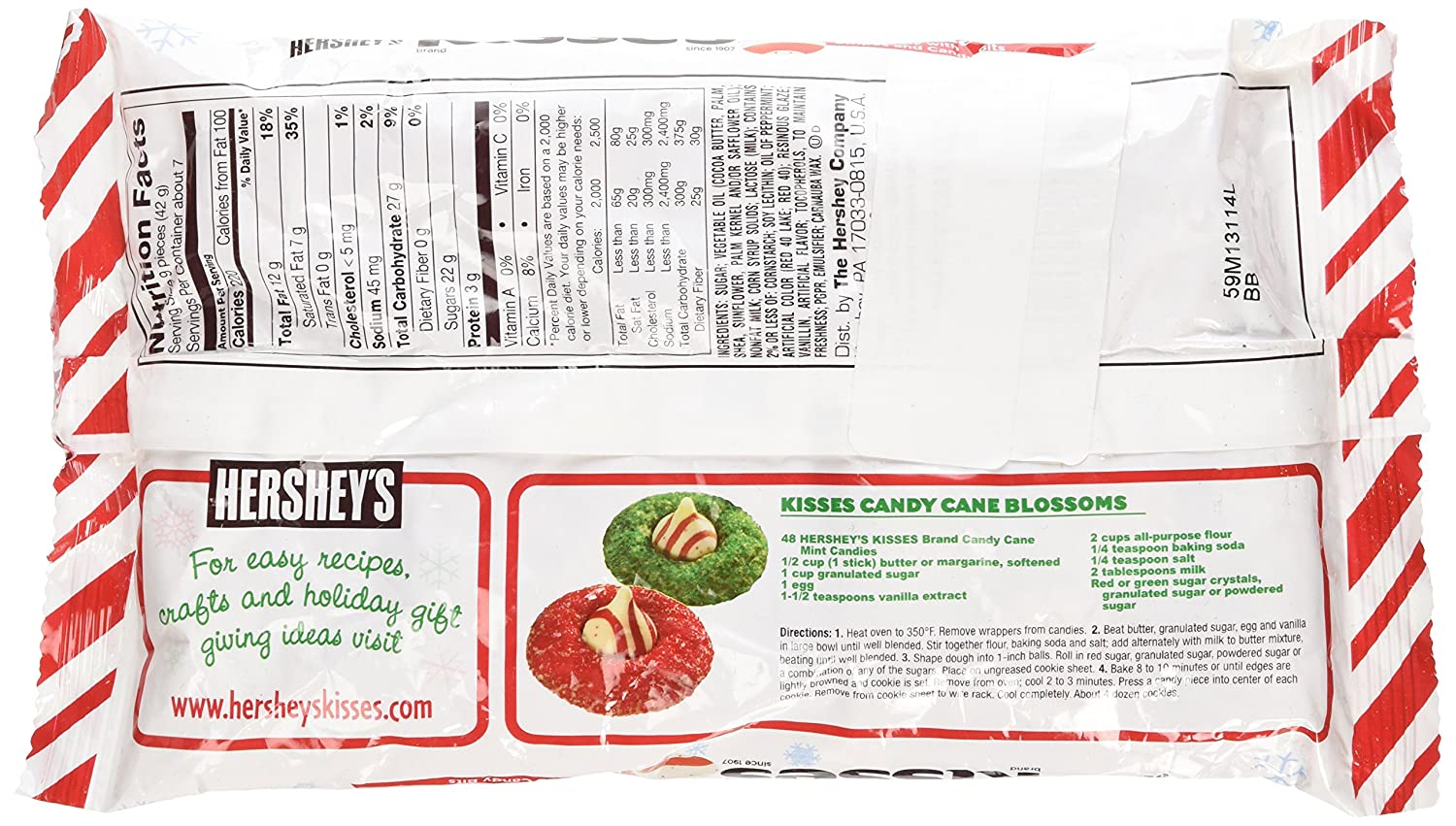 Amazon.com : Hershey\'s Kisses Candy Cane - Mint Candy with Stripes ...