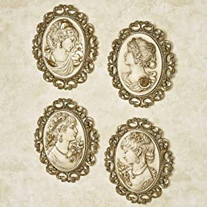 Victorian Ladies Plaques Ivory/Gold Set of Four