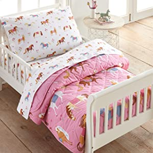 Wildkin 100% Cotton 4 Piece Toddler Bed-in-A-Bag, Bedding Set Includes Comforter, Flat Sheet, Fitted Sheet and Pillowcase, Certified Oeko-TEX Standard 100, BPA-Free, Olive Kids(Horses) (624696)