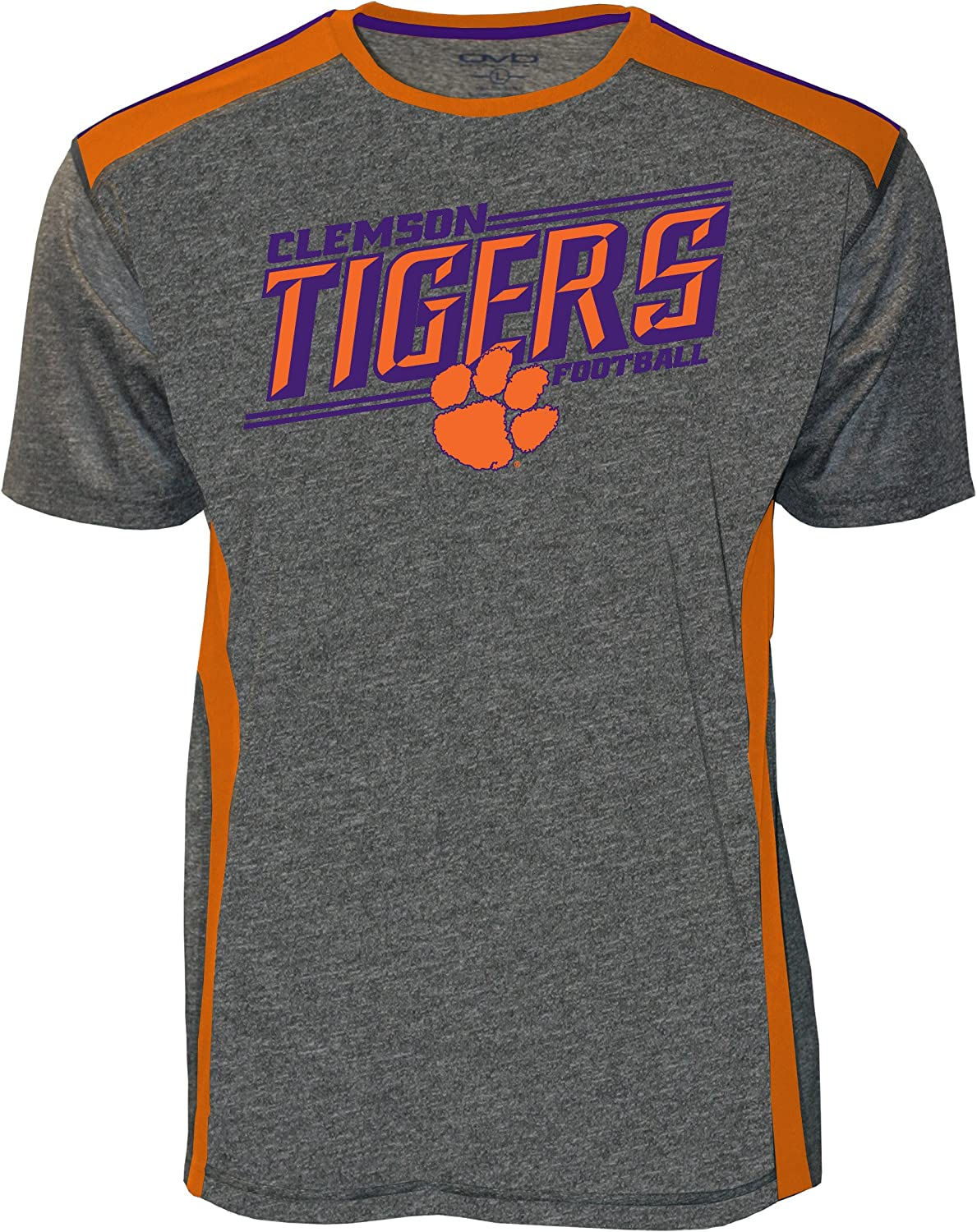 Charocal Heather,X-Large,Charcoal Heather Old Varsity Brand NCAA Clemson Tigers Adult Men NCAA Clemson Mens Screenprinted Poly Color Bock Tee