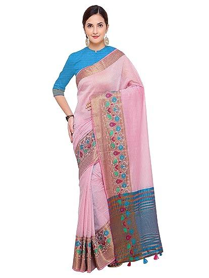 342362e335 Pisara Women Kanjivaram Silk Cotton Saree,Pink Sari: Amazon.in: Clothing &  Accessories