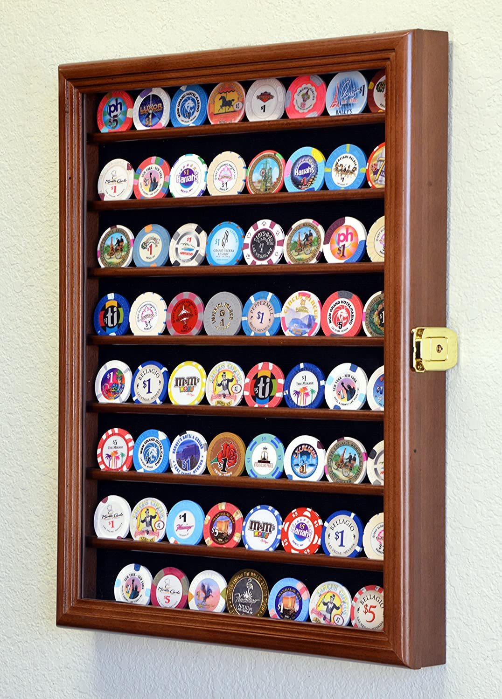 64 Casino Chip Coin Display Case Cabinet Chips Holder Wall Rack 98/% UV Lockable Walnut