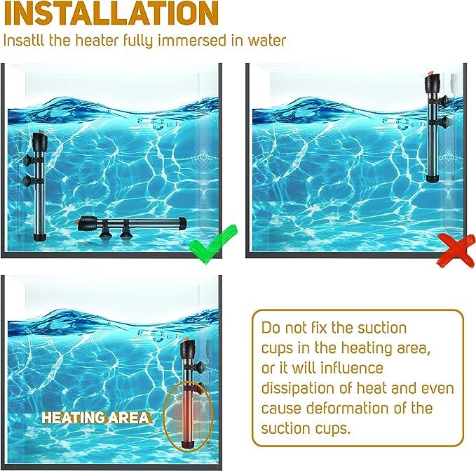 POPETPOP 2 Uds Calentador de Acuario Sumergible Calentador Tahk de Peces para Agua Salada Marina Agua Dulce 50W