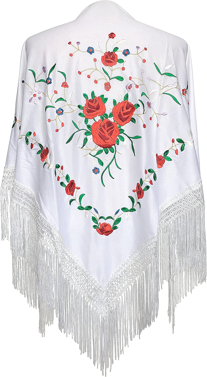 Girls Floral Spanish Flamenco Dance Shawl Beautiful Traditional Embroidere NEW