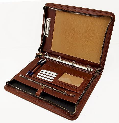 molto carino 1442a 05717 Cartella portadocumenti A4, in pelle italiana, raccoglitore ad anelli A4,  portablocco con manico Cognac
