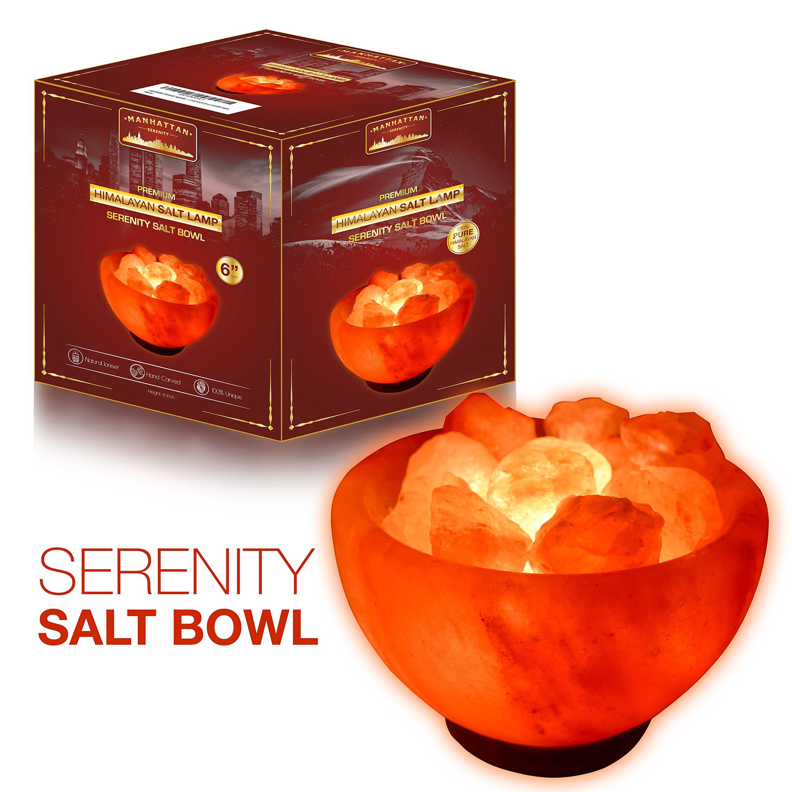 Manhattan Serenity Firebowl Himalayan Salt Lamp. 6ft UL-Certified dimmer switch, 15watt bulb. Carved salt bowl with natural salt chunks on a neem wooden base.