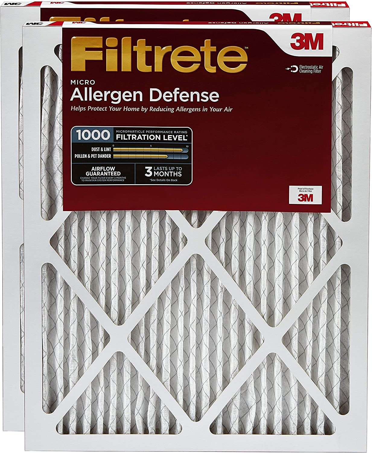 Filtrete 16x20x1, AC Furnace Air Filter, MPR 1000, Micro Allergen Defence, 2-Pack (Renewed)