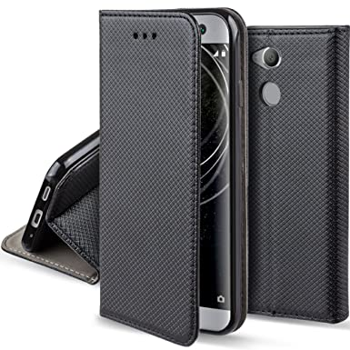 premium selection 20307 bff20 Moozy case Flip cover for Sony Xperia XA2, Black - Smart Magnetic Flip case  with folding stand
